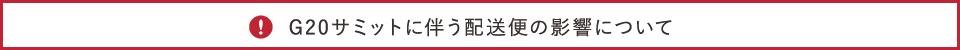 """G20サミット開催に伴う配送便への影響について"""""""